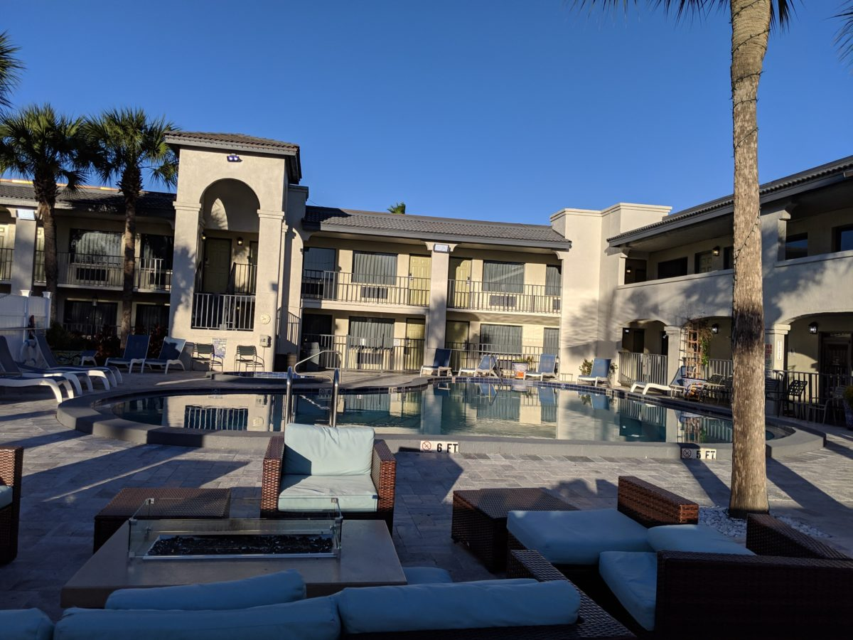 Relax poolside while your kids enjoy the pool during a family vacation to St. Augustine Florida by staying at The Ponce