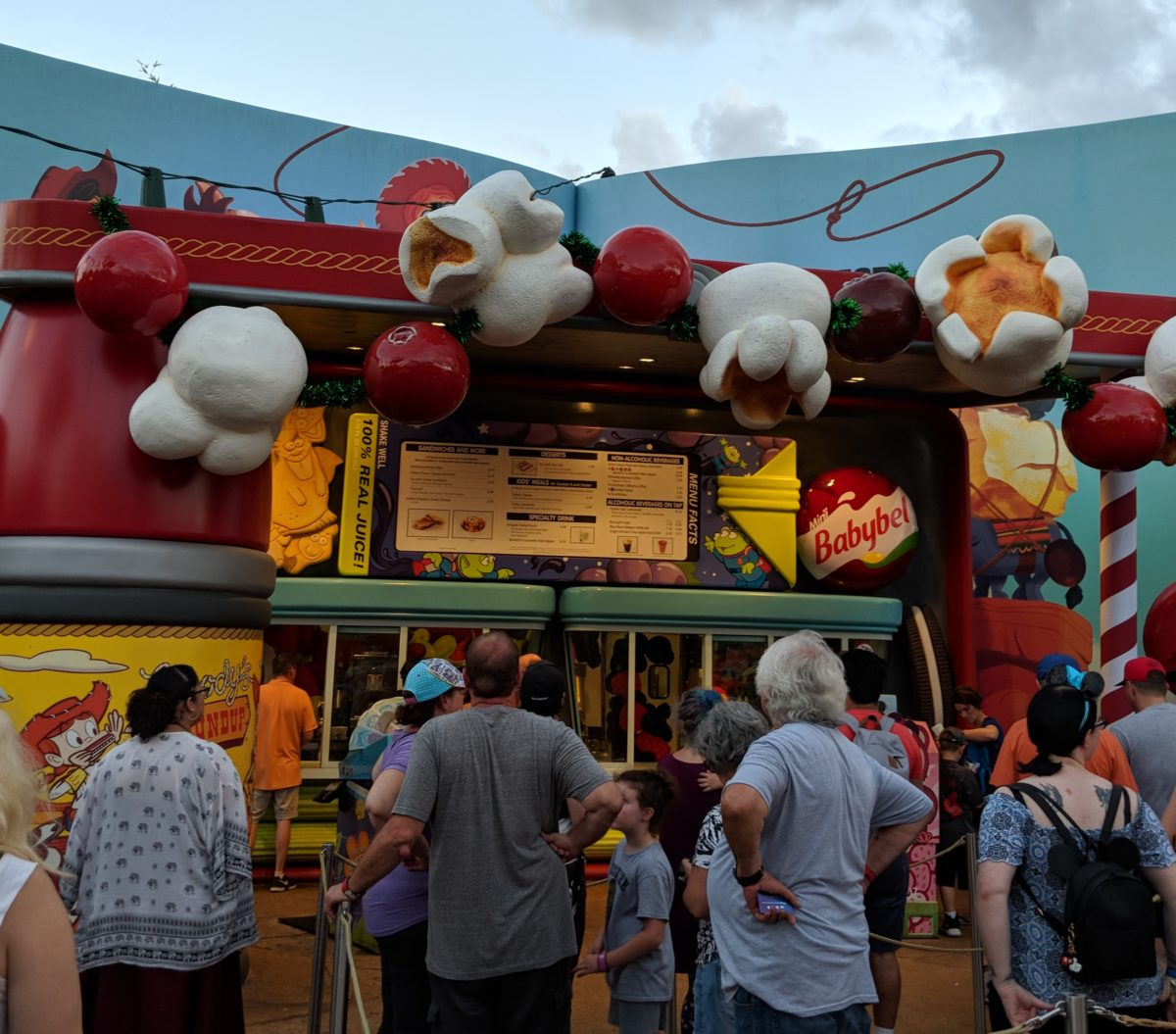 Eat breakfast at Walt Disney World Resort at Hollywood Studios by going to Woody's Lunch Box an outdoor restaurant in Toy Story Land