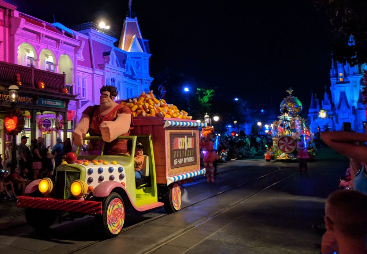 Wreck It Ralph float in Boo to You Parade at Mickey's Not So Scary Halloween Party in Disney World