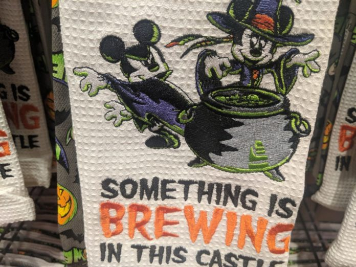 Disney Halloween Kitchen Towel with Mickey and Minnie in Costume and witch's cauldron