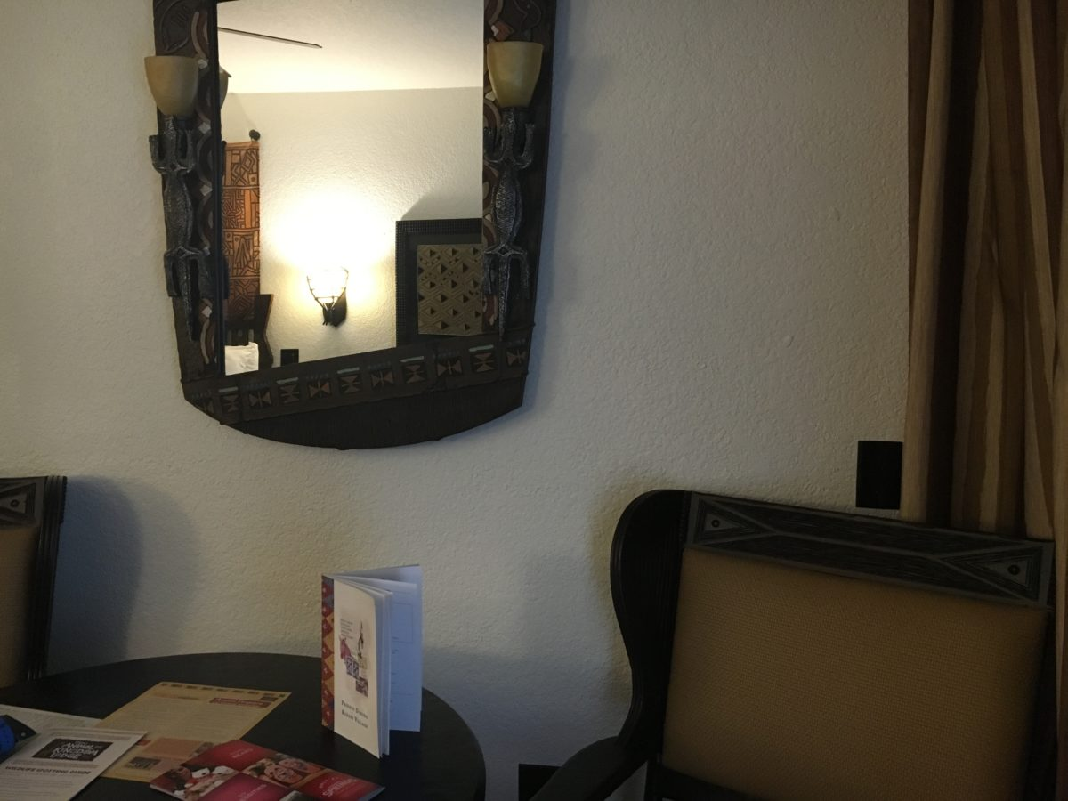 A picture of the table in Animal Kingdom Lodge villa rooms