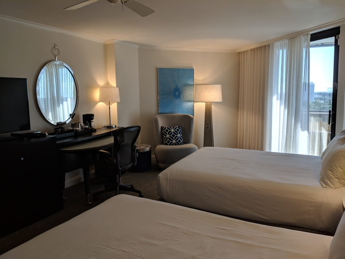 Check out the spacious rooms available at Hilton Orlando Buena Vista Palace Disney Springs area