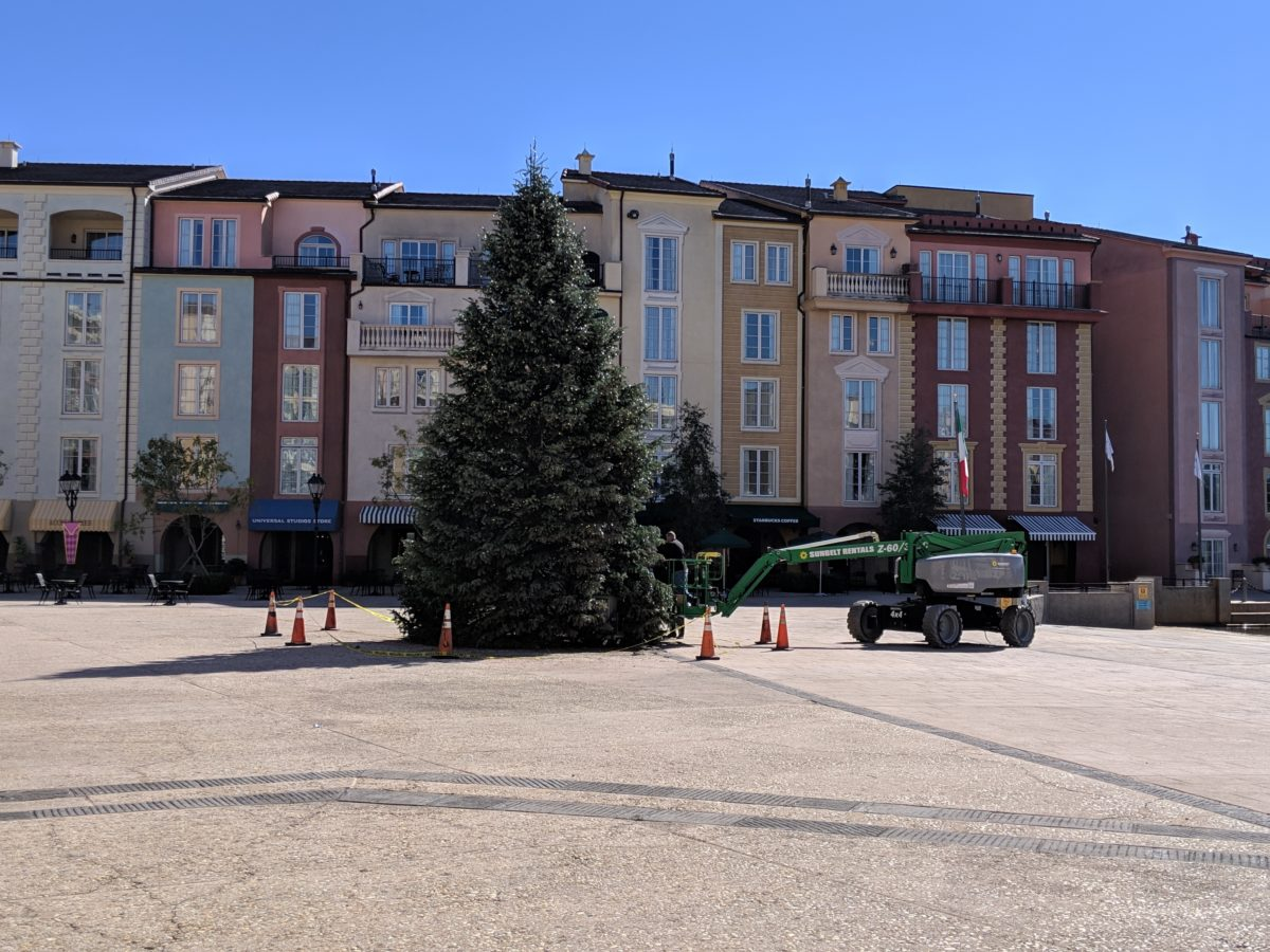 The Harbor Piazza at Universal Orlando's Portofino Bay hotel has a huge Christmas tree during the holiday season