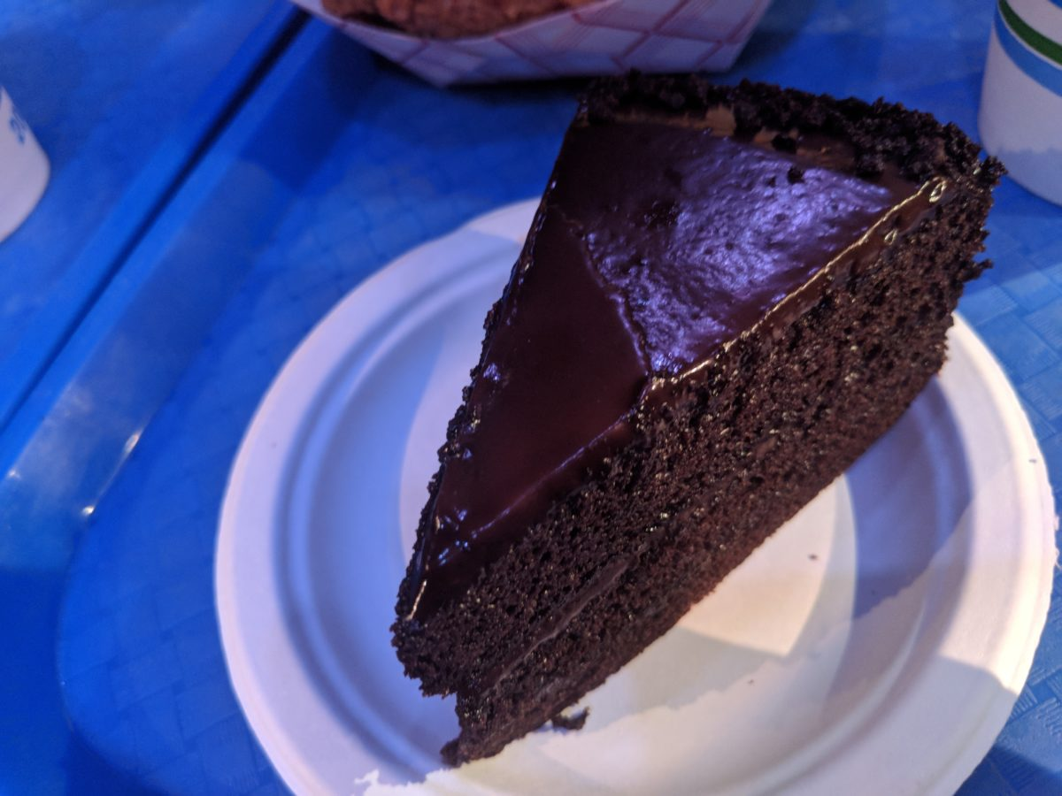 Chocolate cake available at Seafire Grill at SeaWorld theme park in Orlando, Florida