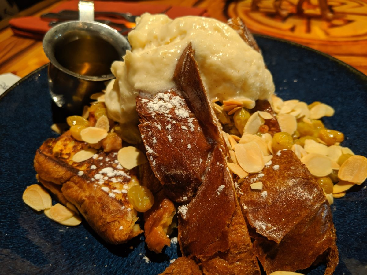 A picutre of the Shahi Tukra French Toast, a breakfast item you can order at Sanaa at Animal Kingdom Lodge in Disney World