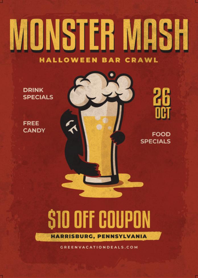 Enjoy drink & food specials, free candy at Halloween bar crawl in Harrisburg, PA