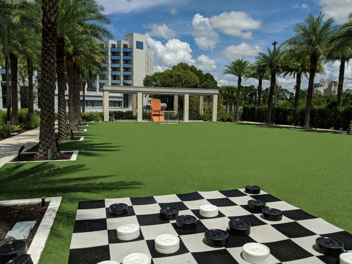 Life-size chess board & goals are part of the recreational activities offered by Hilton Orlando Buena Vista Palace