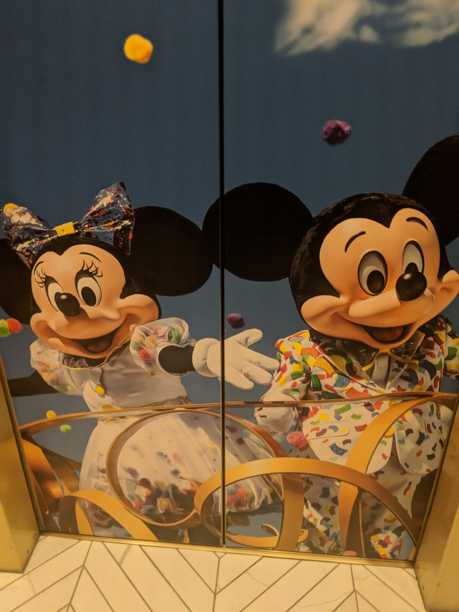 See Mickey & Minnie on the elevators of Hilton Orlando Buena Vista Palace Disney Springs