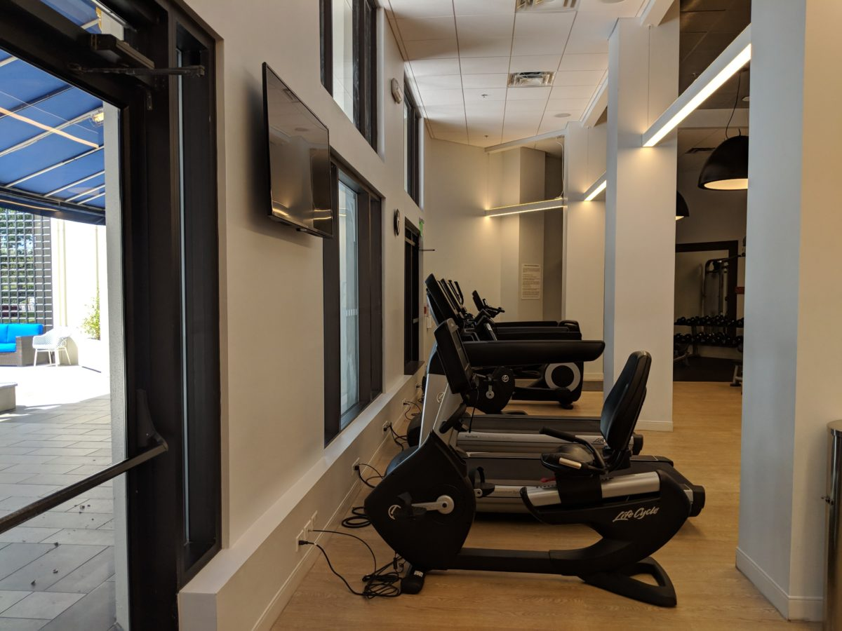 A picture of the workout equipment you can use at Hilton Orlando Buena Vista Palace Disney Springs