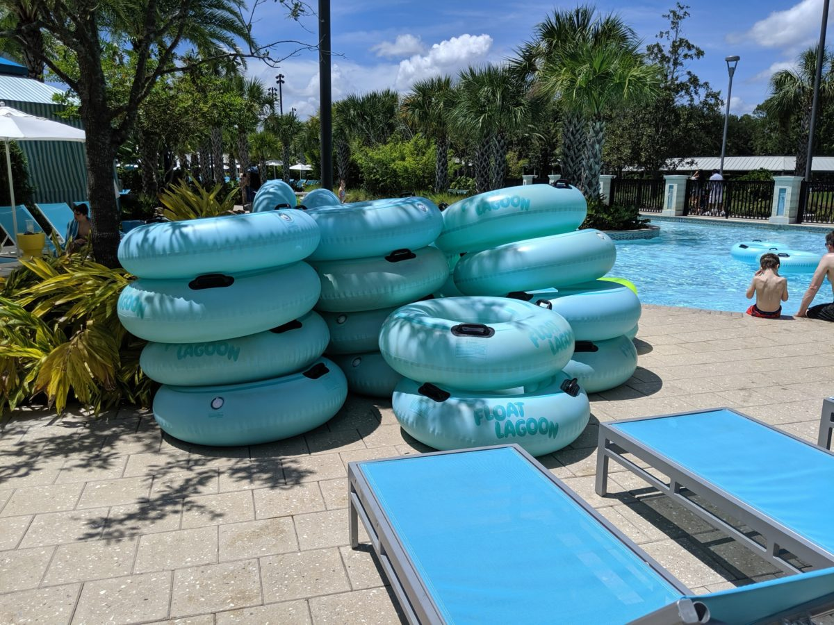 Hilton Orlando Buena Vista Palace has a great lazy river with free tube access