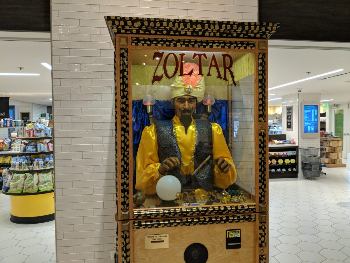 Zoltar in the lobby of Hilton Orlando Buena Vista Palace Disney Springs area