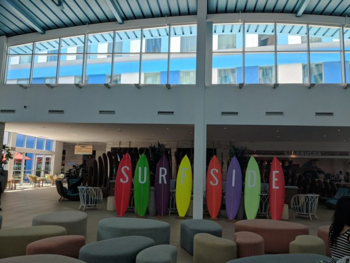 Surfside Inn & Suites hotel at Universal Orlando Resort has a surfing theme