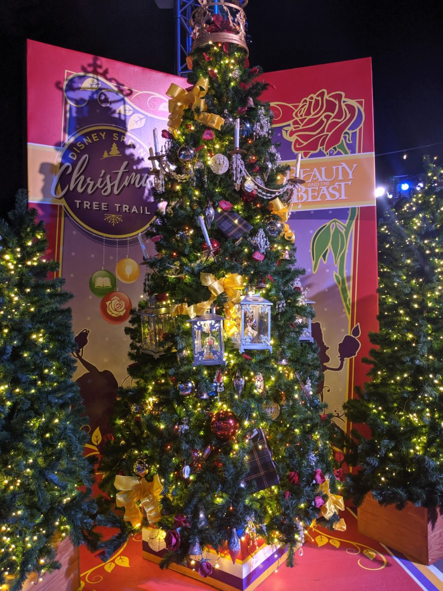 Beauty & The Beast Christmas tree appears at Walt Disney World in Orlando, Florida