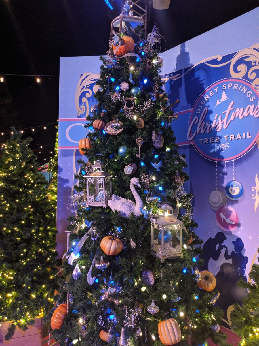 Cinderella is featured in the Disney Springs Christmas Tree Trail in Orlando, Florida