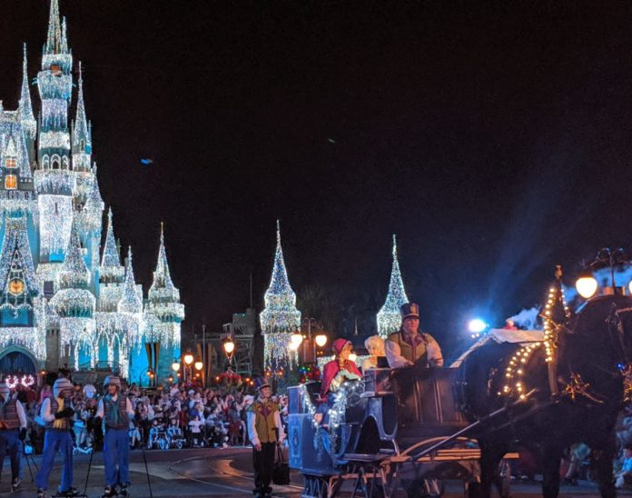 A video of Mickey's Once Upon a Christmastime Parade from 2019