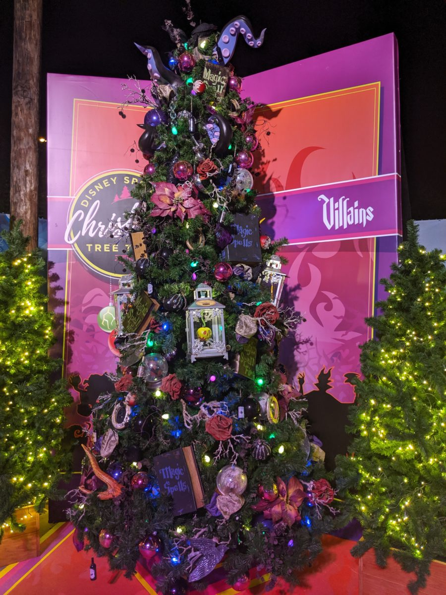 One of the themed trees at Disney Springs Christmas tree lots is villains from popular Disney movies