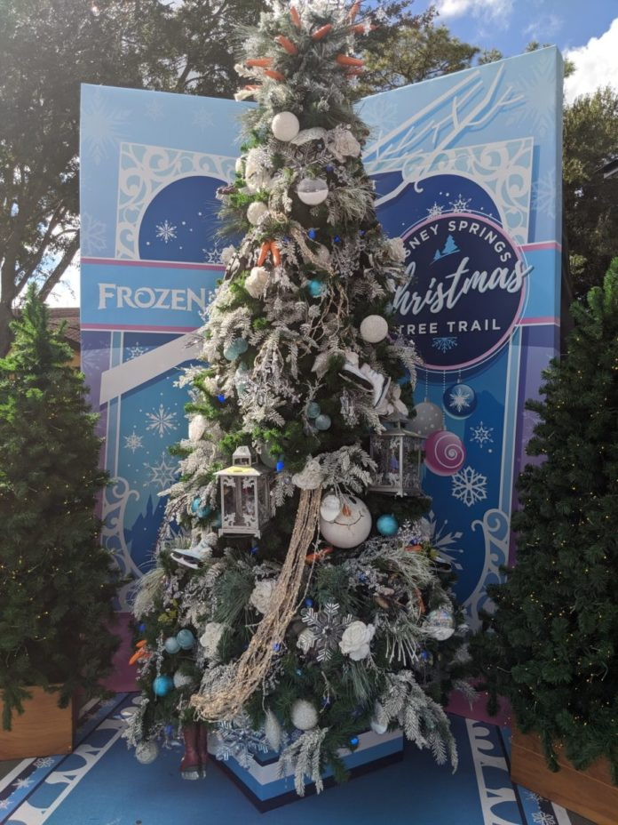 The Frozen Christmas Tree at DIsney's Springs Christmas Tree Trail in Orlando is one of the highlights