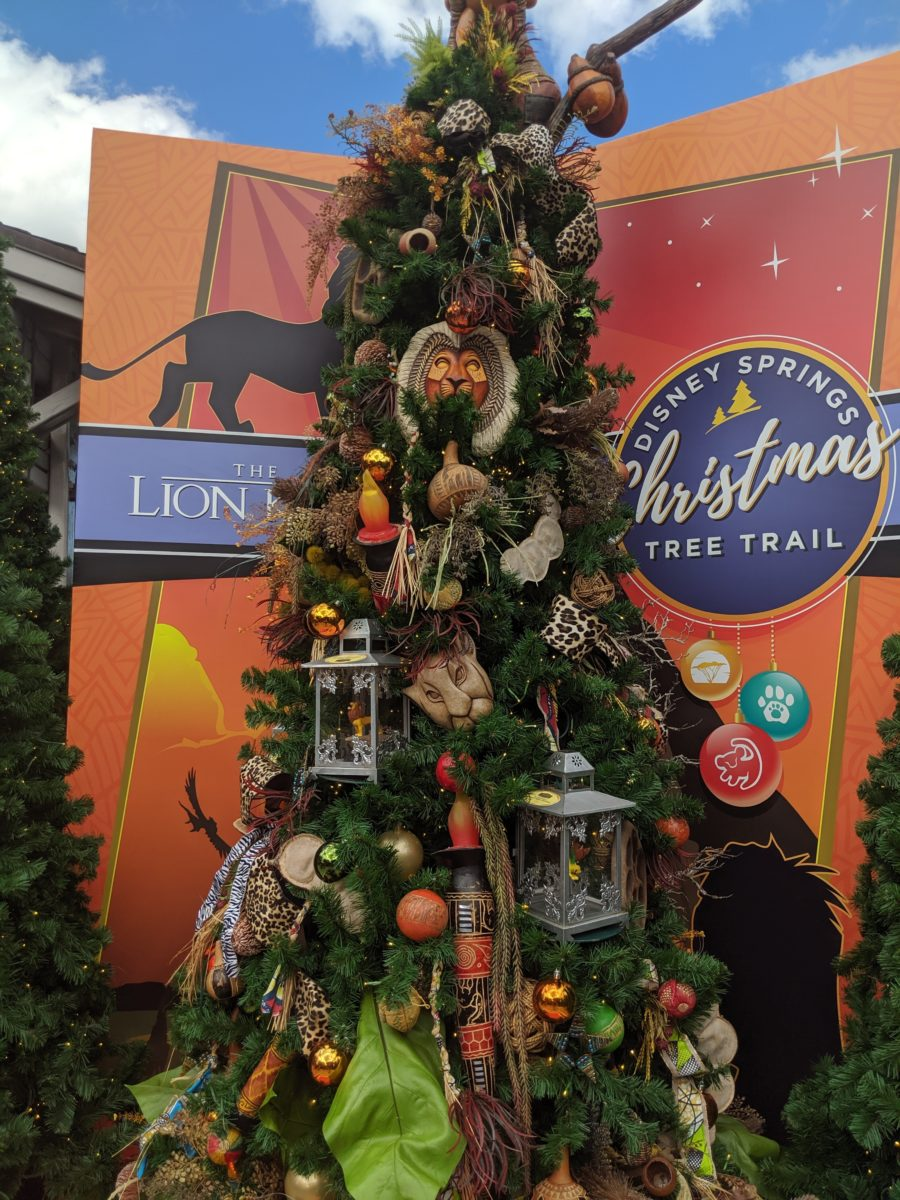The Lion King is one of the new trees at the DIsney Springs Christmas Tree Trail