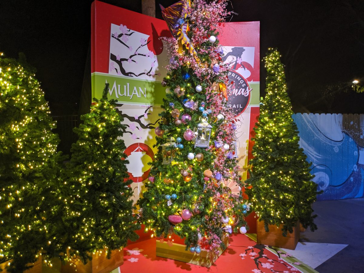 Mulan is featured in the Disney Springs Christmas Tree Trail in Orlando, Florida