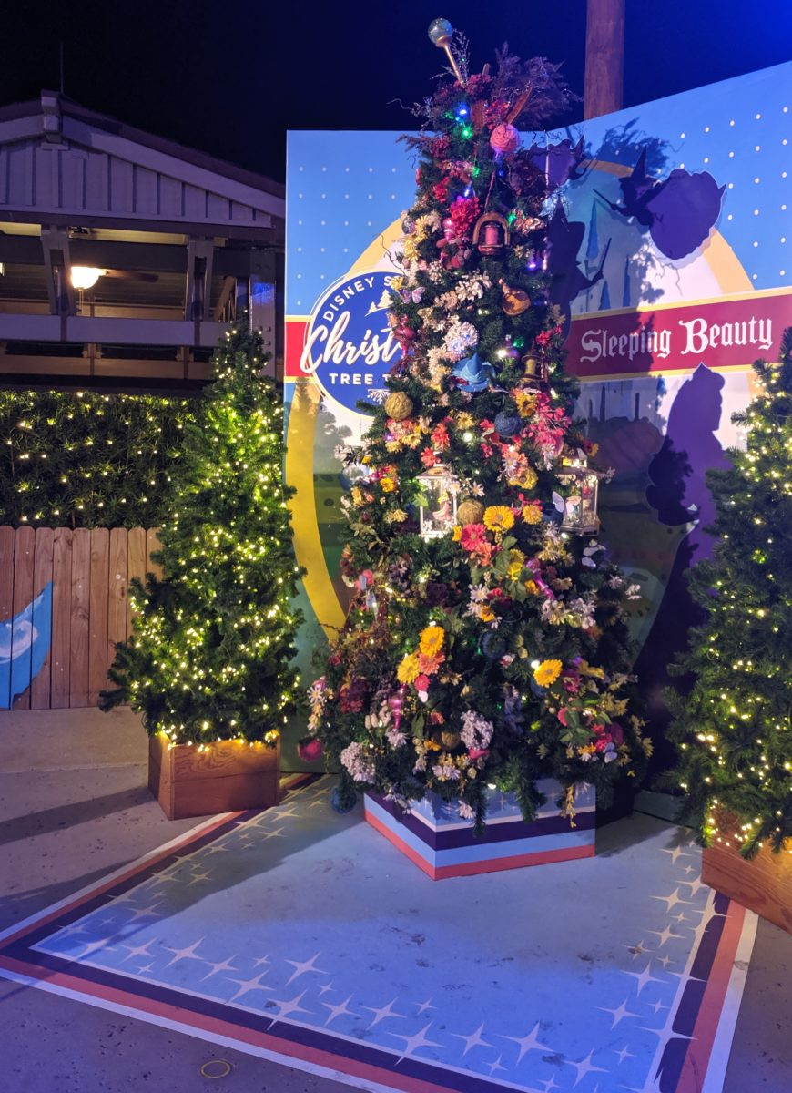 Sleeping Beuaty is one of thre trees at Disney Springs Christmas Tree Trail