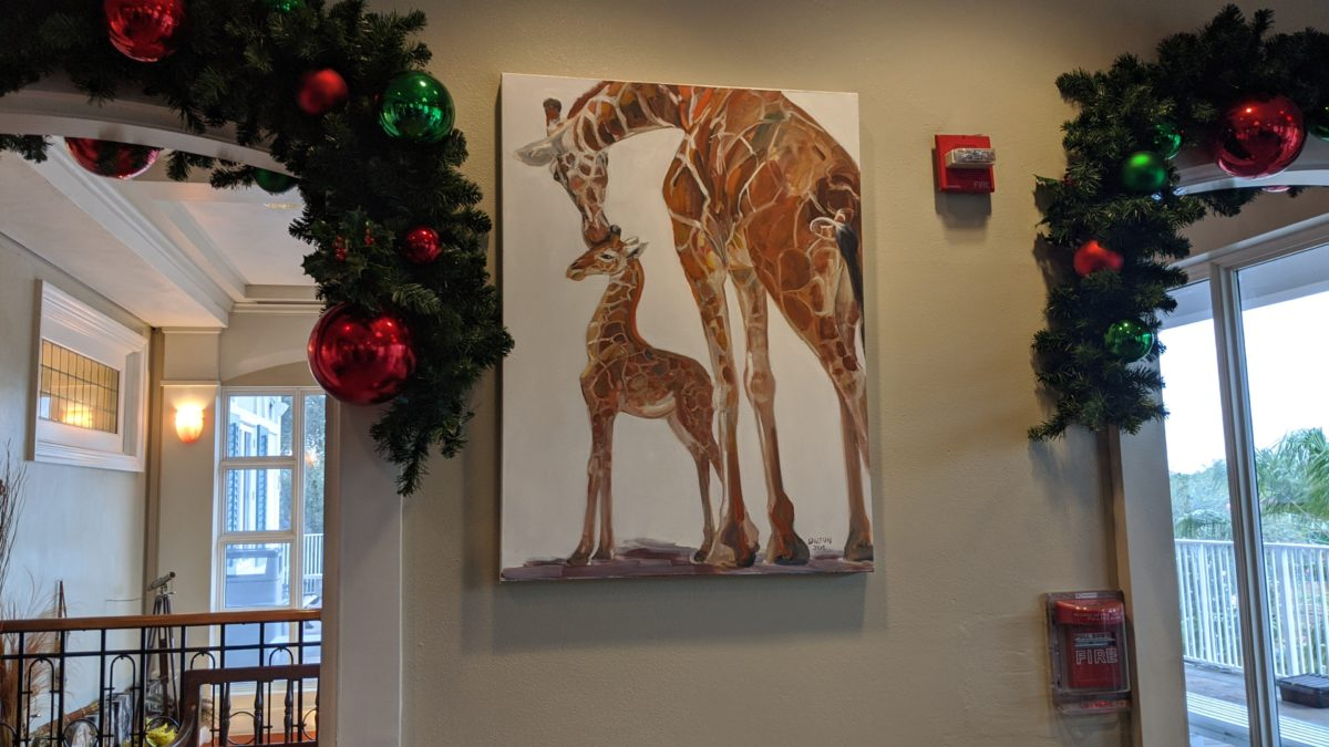 A picture of the artwork & holiday decor at Serengeti Overlook Restaurant at Busch Gardens Tampa Bay