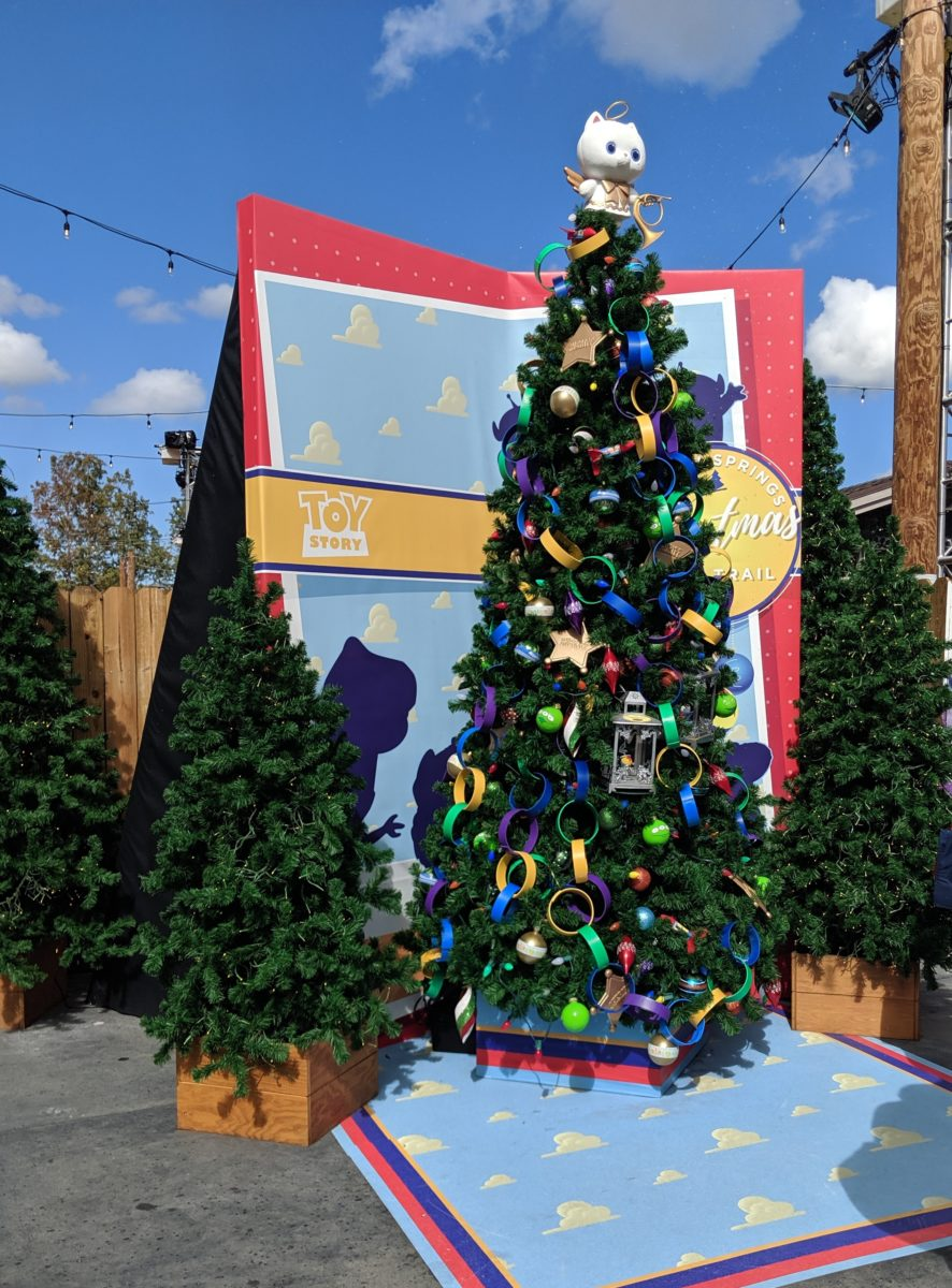 Disney Springs at Walt Disney World Resort has a Christmas tree trail with a Toy Story tree