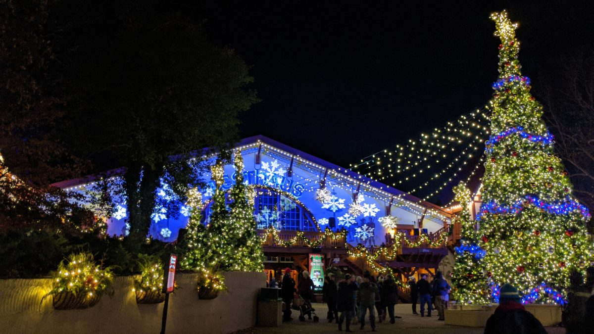 Outside Festhaus at Oktoberfest at Christmas Town in Busch Gardens Williamsburg