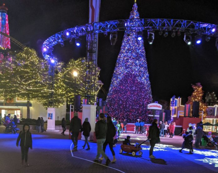 The holiday lights & Christmas tree at Celebration Plaza in Carowinds Winterfest