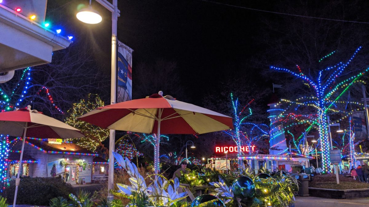 A picture of Jingle Bell Boardwalk at Winterfest in Carowinds theme park in Charlotte, NC