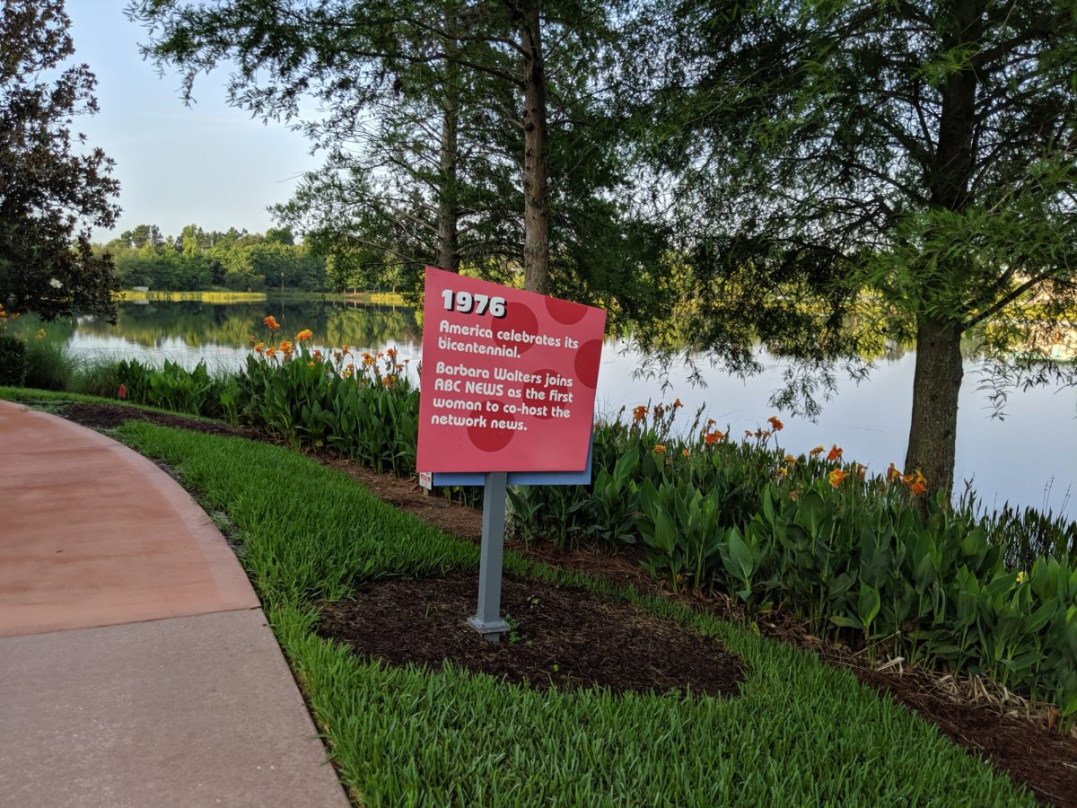 Facts about the different decades are up at Pop Century at Walt Disney World