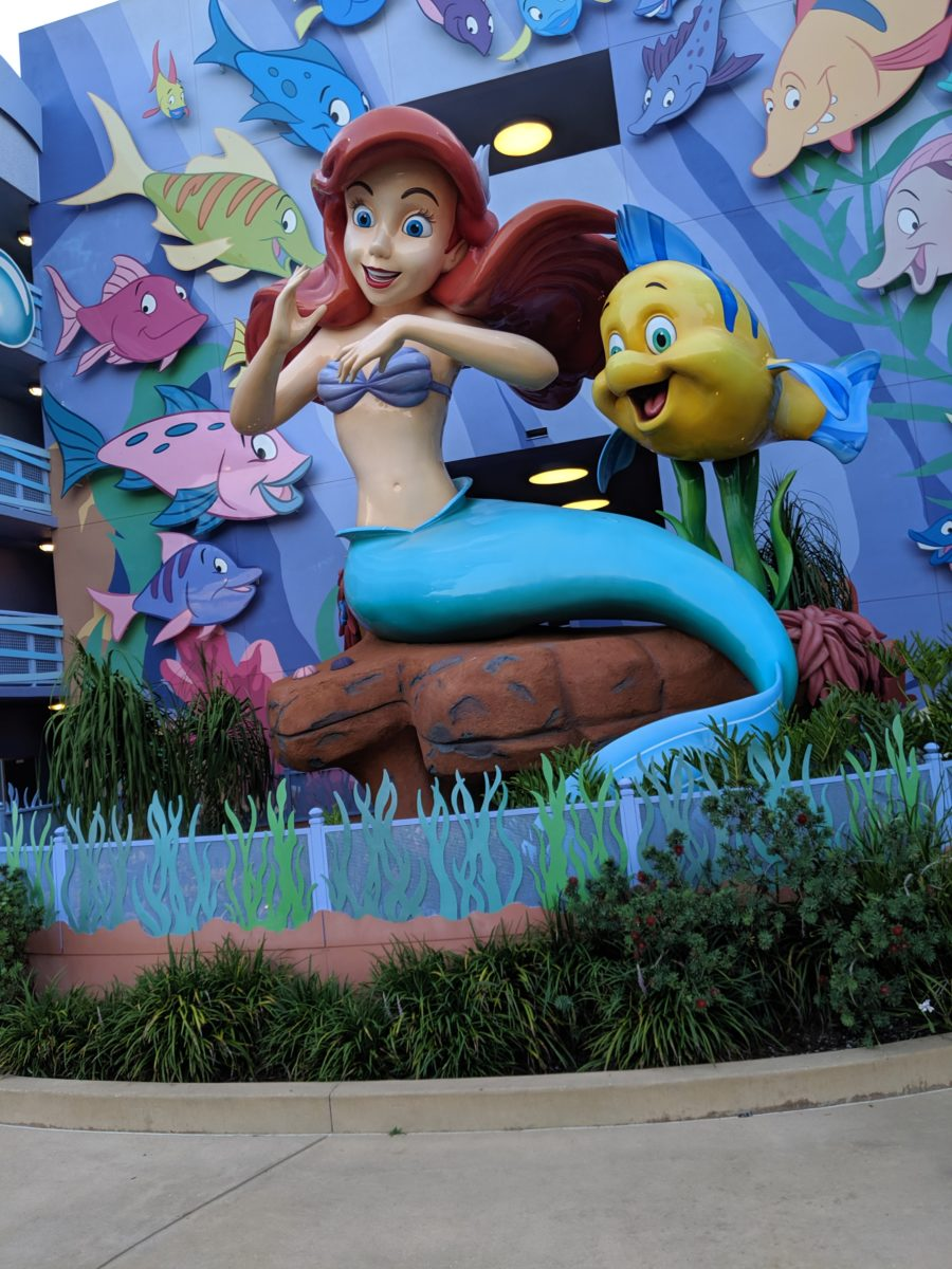 A giant Ariel is on display at Disney's Art of Animation hotel at Disney World
