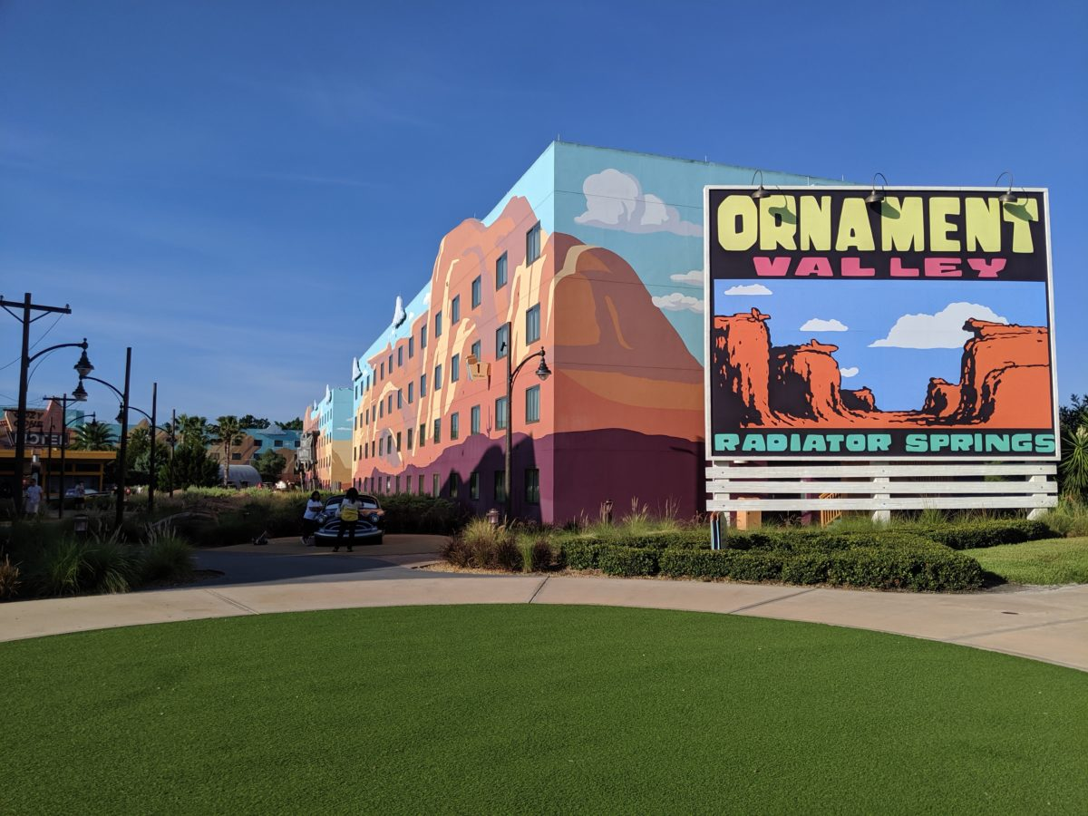 A picture of the Ornament Valley sign at Art of Animation hotel at Disney World