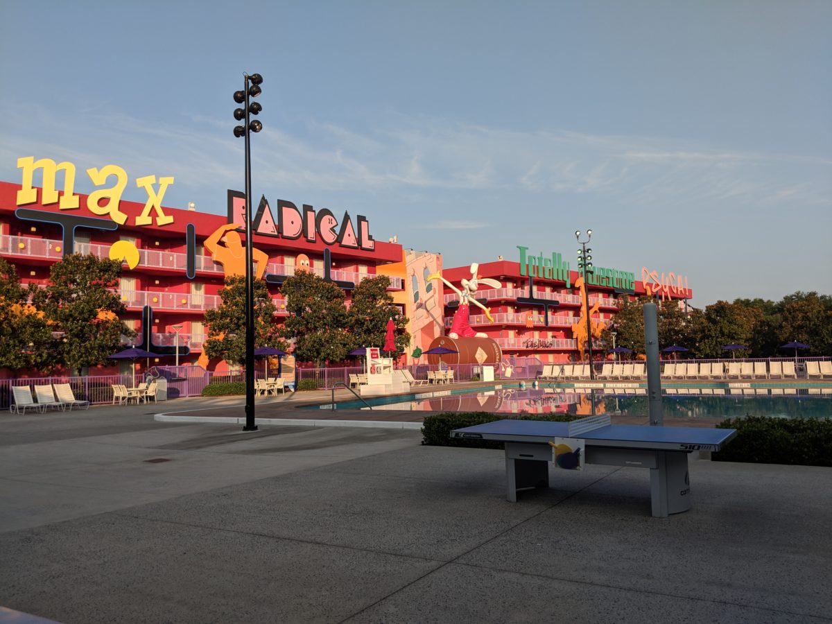A picture of the 1980s section with Roger Rabbit at Disney's Pop Century Resort