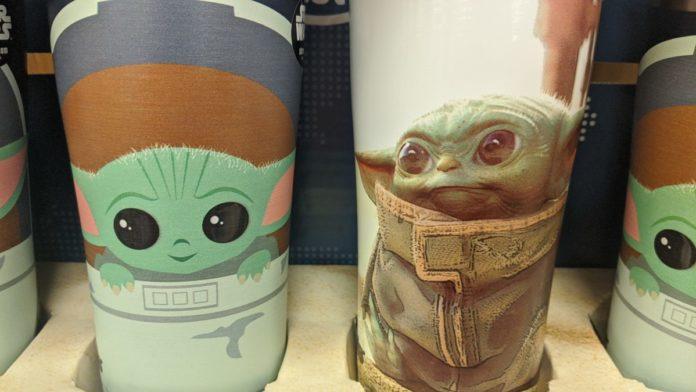 Baby Yoda merchandise. Character from Disney Plus Mandalorian hit show