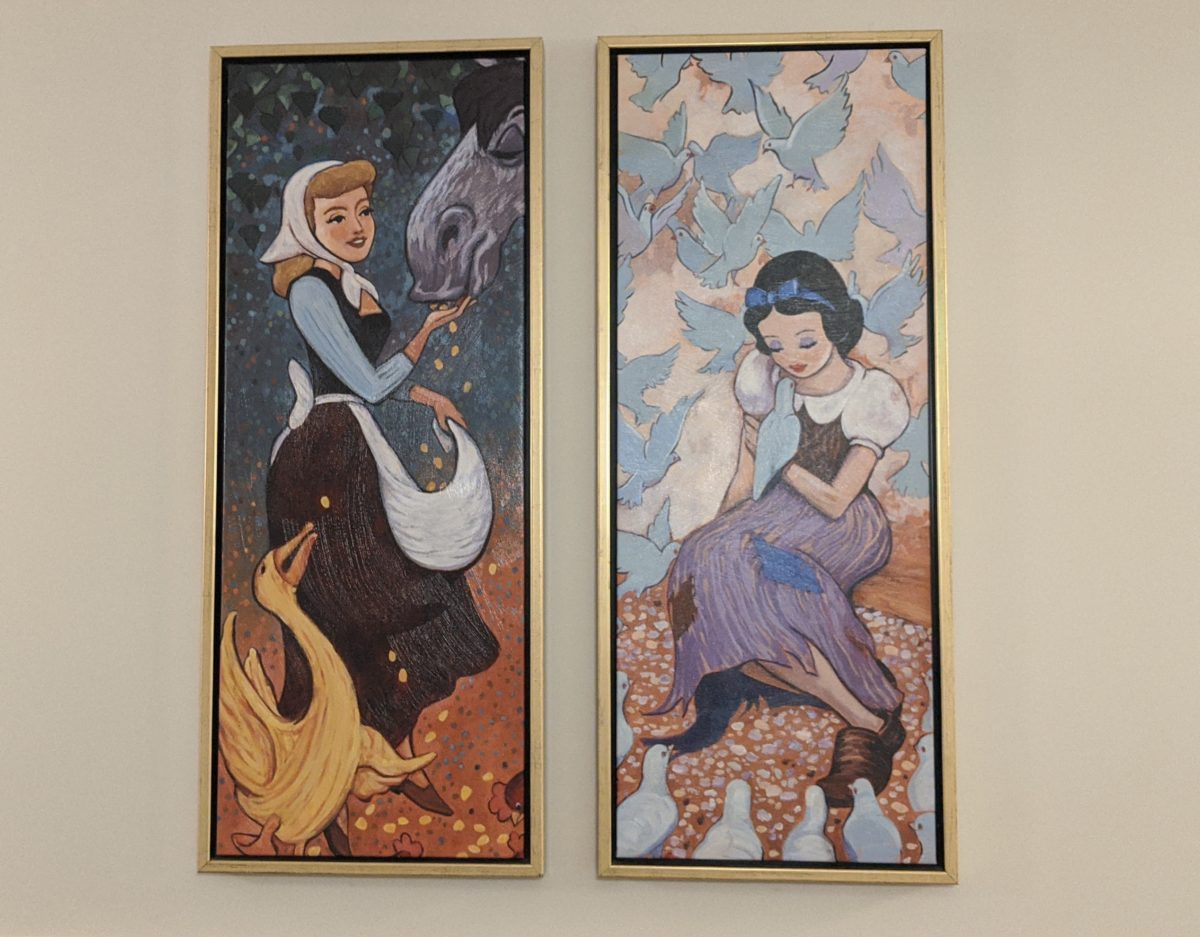 Disney's European themed Riviera hotel has stylized princess pictures