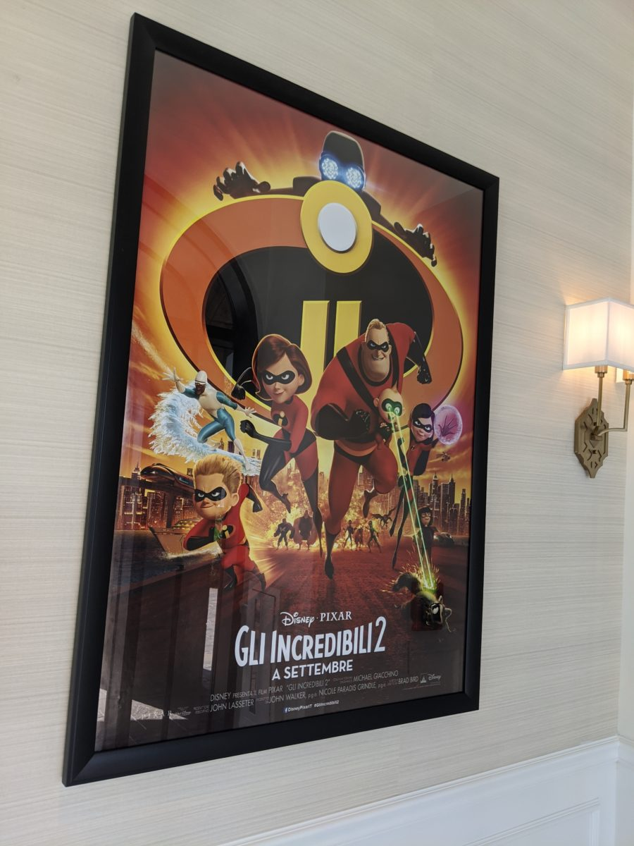 Disney & Pixar movie posters like the Incredibles are in different langauges at the lobby at Disney's Riviera Resort