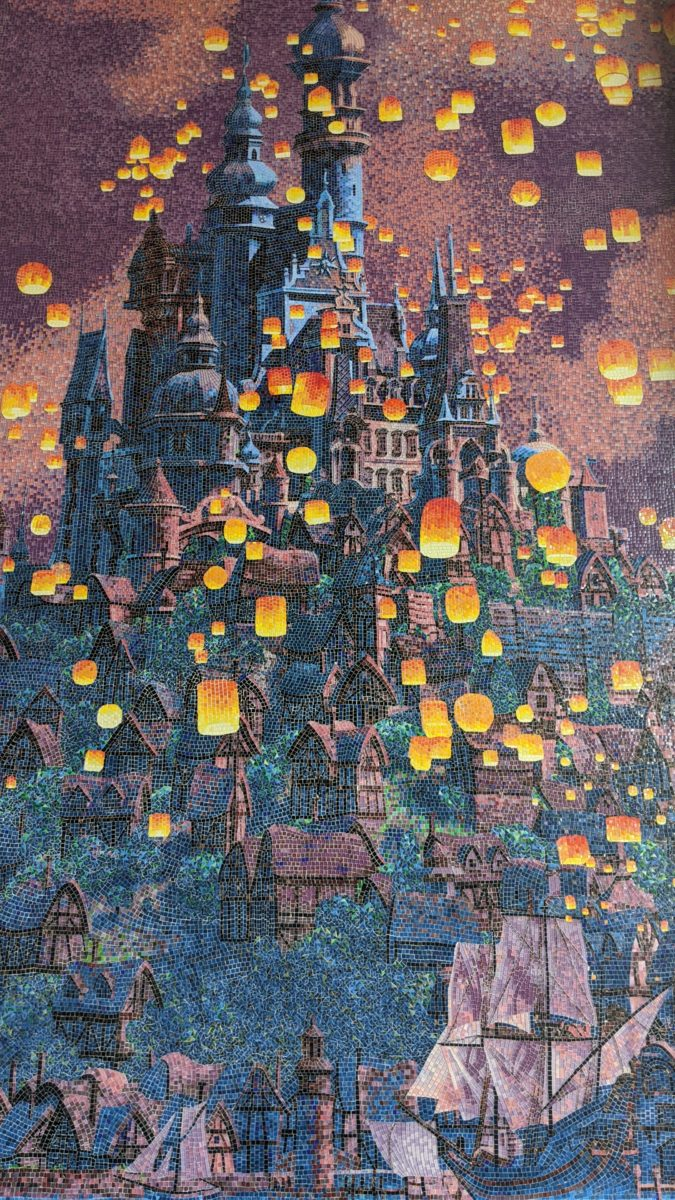 Picture of the beautiful Tangled mural display outside of the Rivera Resort at Disney World