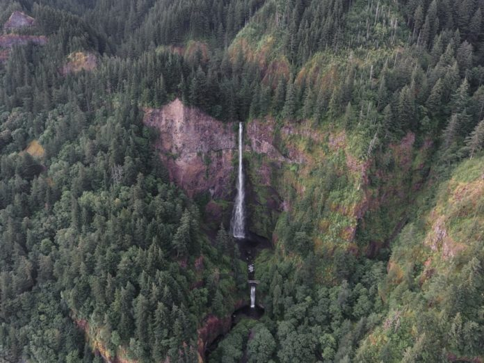 Multnomah Falls Oregon. See aerial views from private airplane tour from Portland Oregon