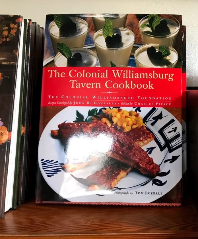Picture of Colonial Williams Tavern Cookbook. Recipe books from Virginia