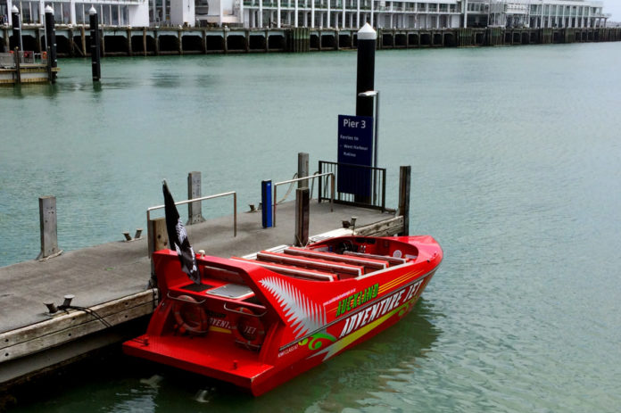 Auckland Adventure Jet. Built in the South Island, New Zealand by Kwikkraft powered by twin 300HP Volvo jet engines, making it the fastest jet boat ride in Waitemata Harbour.