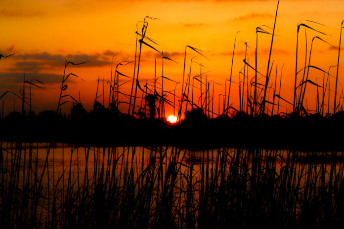 Sunset on Lake Charles. Find out how to get cheap rates for hotels there