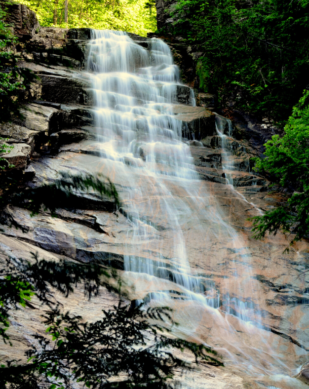 Picture of Ripley Falls in New Hampshire. Find out how to save money rappelling down the falls
