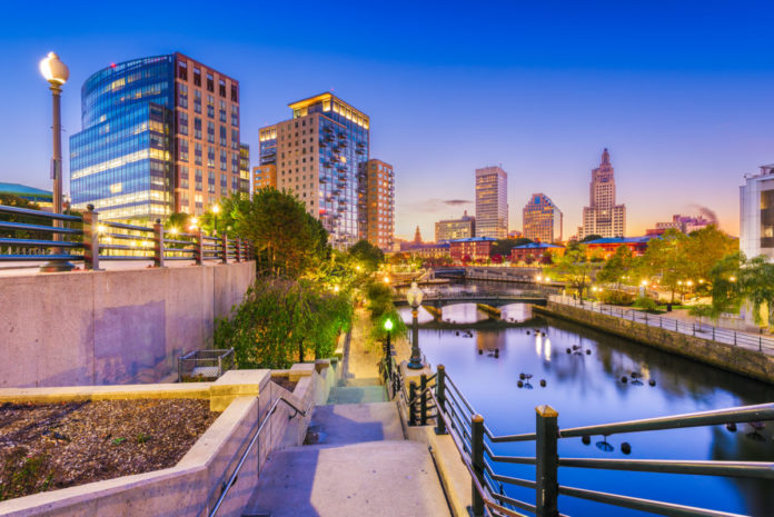 Providence, Rhode Island, USA park and skyline at dawn. Read ir travel guide & hotel recommendations