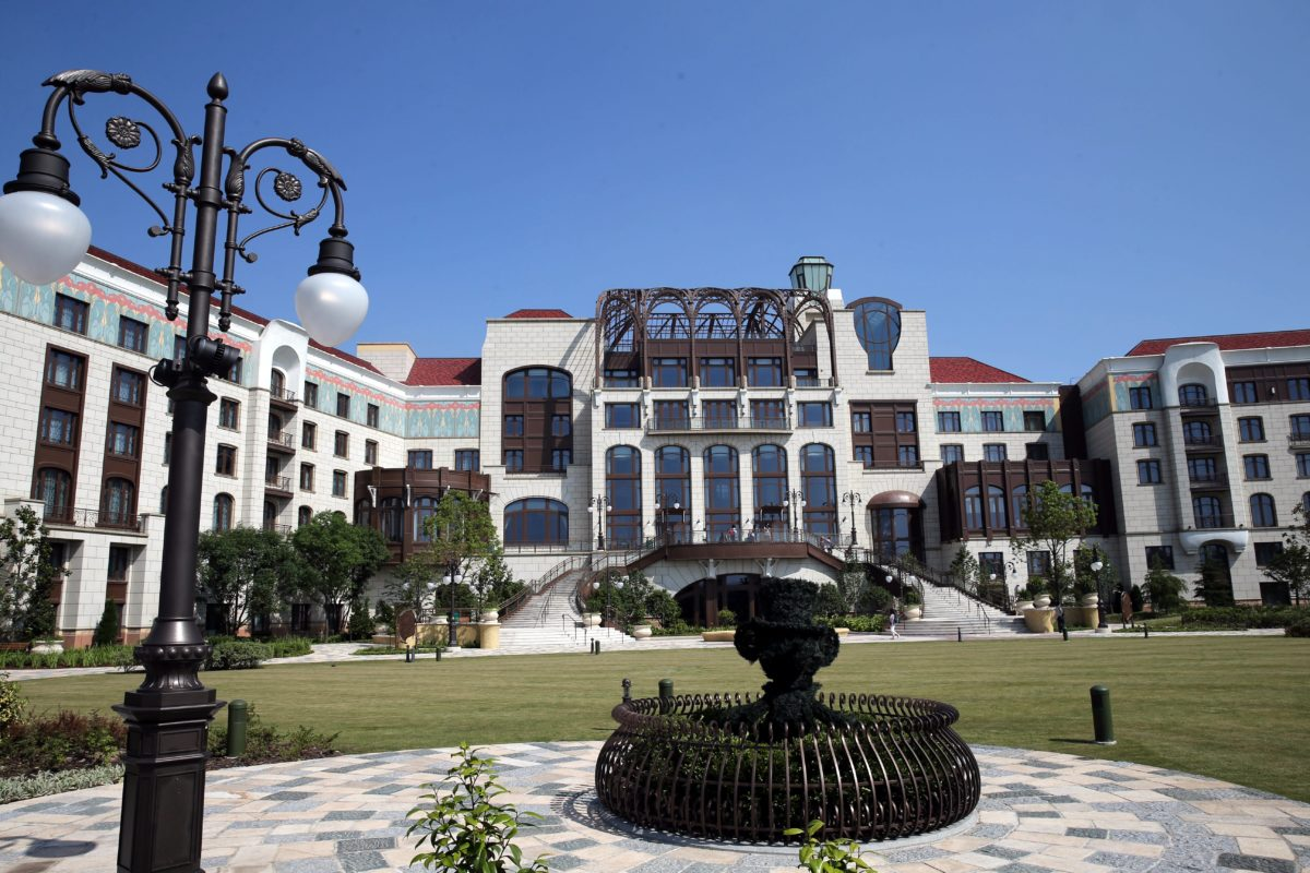 A view of the outside of the Shanghai Disneyland Hotel in China