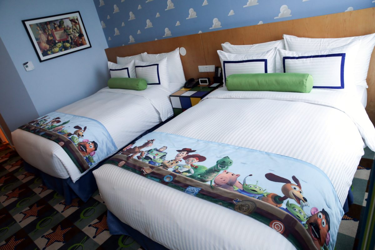 Picture of the bed, decor at the Toy Story Hotel at the Shanghai Disneyland Resort