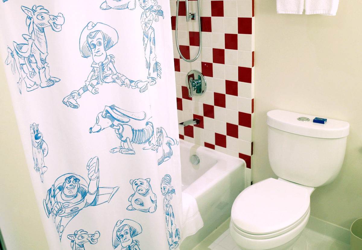 Even the bathrooms at the Toy Story Hotel are themed to Disney characters