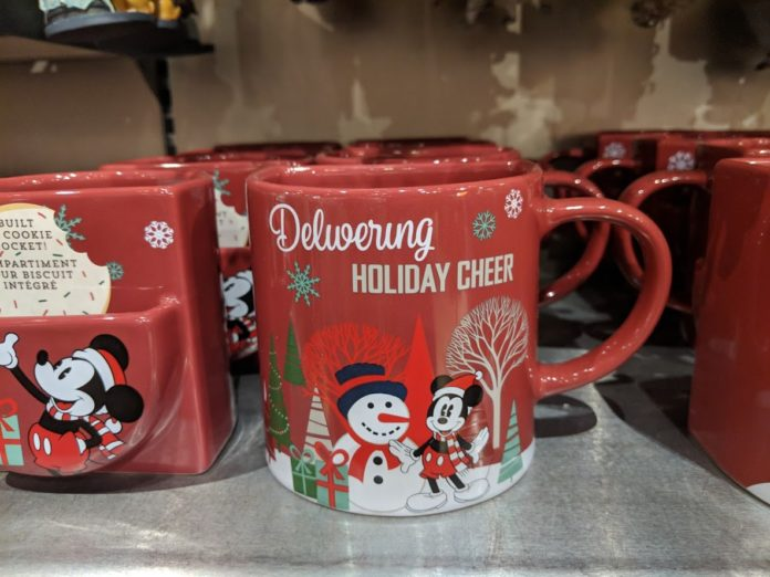Christmas mug themed to Disney characters & attractions like Mickey, Winnie the Pooh, Belle, Nightmare Before Christmas, etc.