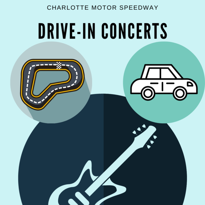 Safe socially distance live concert drive-in at Charlotte Motor Speedway