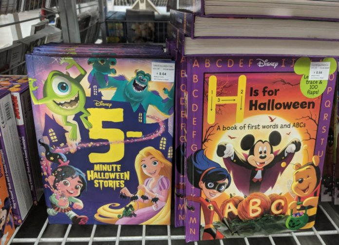 Best Disney Halloween books themed to Mickey, Minnie, Winnie the Pooh, Frozen, Tangled, Cars, Toy Story, etc.