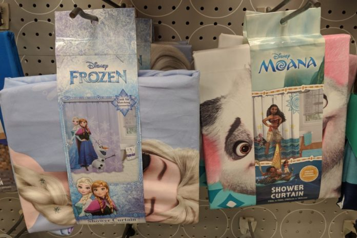 Shower curtains themed to Disney movies like Frozen 2, Moana, Incredibles, Aladdin, Lion King, Little Mermaid, Finding Nemo, etc.